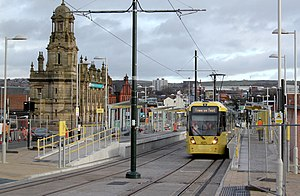 Oldham and Rochdale Line - A M5000 tram at Oldham Mumps tram stop.