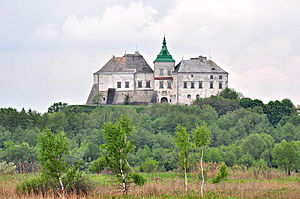 Olesko Castle view from the park.