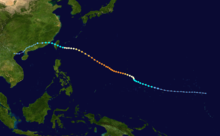 Track of Typhoon Omar plotting its intensity at six-hour intervals. The track begins over the open Pacific Ocean near Kiribati and extends generally west-northwest, ultimately crossing Taiwan and eastern China before ending over northern Vietnam.