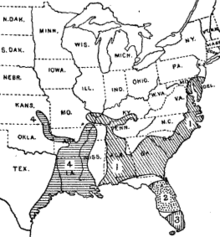 Map of the eastern United States, with distributions of Goldman's subspecies as listed in the text