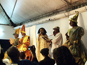 Oumou Sy - Oumou Sy (center) at the Metissacana Cafe during a fashion show in tribute to Léopold Sédar Senghor for the Dakar Biennale 2006.