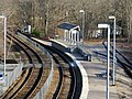 Outbound Stoughton Branch platform and former spurs at Canton Junction station, April 2016.JPG