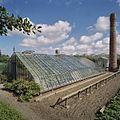 Overzicht van ijzeren druivenserre (kniekas), met schoorsteen op de achtergrond - Honselersdijk - 20405437 - RCE.jpg