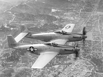 North American F-82 Twin Mustang - The second prototype North American XP-82 Twin Mustang (44-83887) being flight-tested at Muroc Army Airfield, California.