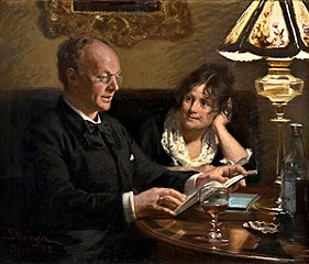 Double portrait of royal actor Emil Poulsen (1842-1911) and his wife Anna, born Næser (1849-1934)