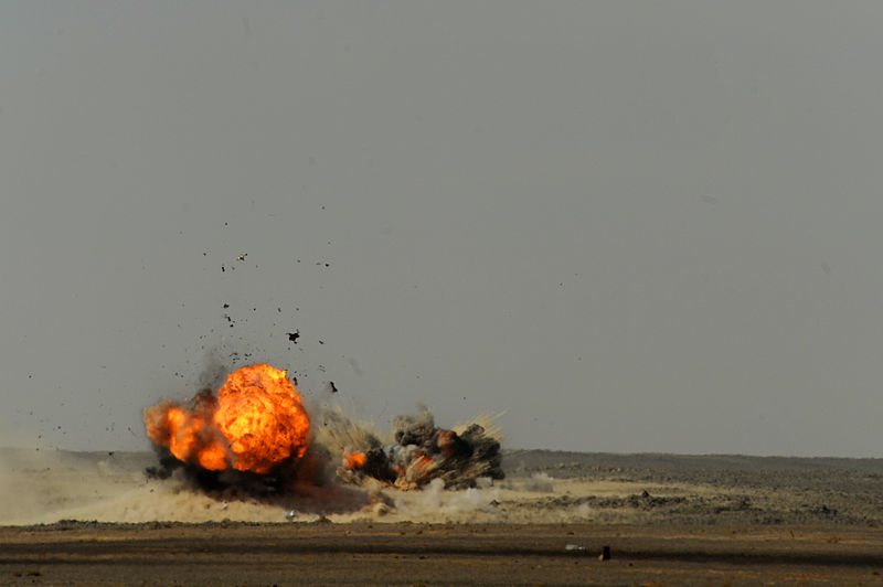 PAF Mirage III ROSE hits target with two 500 lb bombs at Falcon Air Meet 2010.jpg