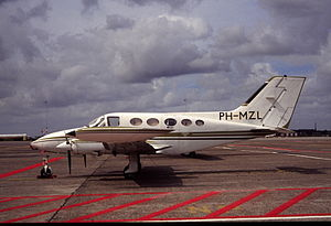 Cessna 414 - A Cessna 414 Chancellor at Amsterdam-Schiphol Airport, 1990