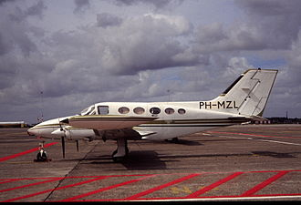 Cessna 414 - A Cessna 414 Chancellor at Amsterdam-Schiphol Airport, 1990