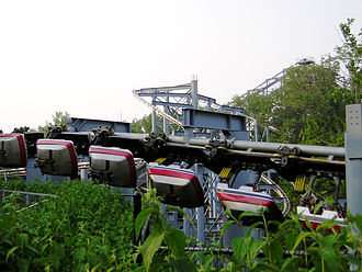 Suspended roller coaster - Trains swinging on an Arrow Dynamics manufactured suspended roller coaster The Bat at Kings Island