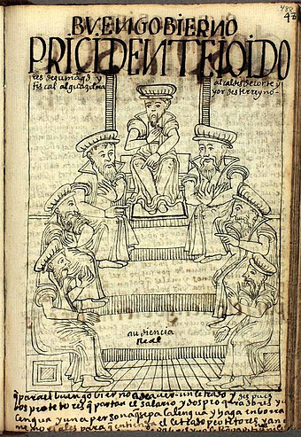 Members of the Real Audiencia (Royal Audience) of Lima, the presidente, alcaldes de corte, fiscal and alguacil mayor. (Nueva Cronica y Buen Gobierno, p. 488) POMA0488.jpg
