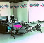 Pacific PR01 in the pits at the 1994 British Grand Prix (31697593074).jpg