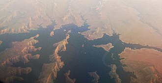 Padre Bay - Aerial view of Padre Bay of Lake Powell, January 2012