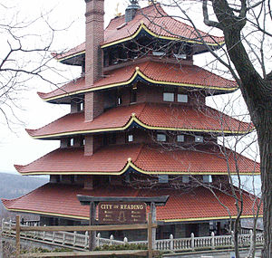 Reading's Pagoda seen from Skyline Drive
