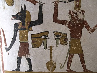 Cavern deities of the underworld - Jackal and lion-headed guardian deities with swords, from the Tomb of Sadosiris (El Muzawaka, Dakhla Oasis).