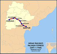 Palnadu Express (GNT-VKB) Route map.jpg