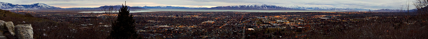Panoramic View of Provo and Utah Valley after Sunset from the Y Mountain Trailhead