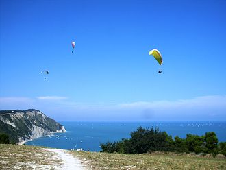 Paragliding - Paragliding over the bay of Portonovo, Ancona, Italy, 2014