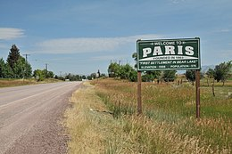 Paris (Idaho), Ortsschild.JPG