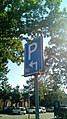 Parking sign with an arrow pointing forward and then right, Winschoten (2019) 04.jpg