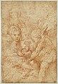 Parmigianino - La Sainte Famille avec deux anges et un vieil homme, INV 6417, Recto.jpg