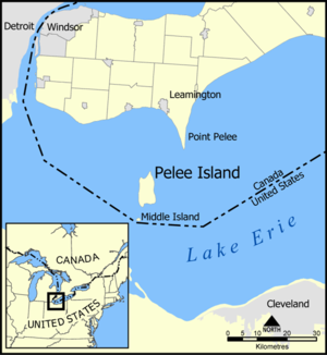 Map of Pelee island and Middle Island.
