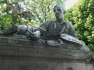 Bronze figure of Géricault in Le Père Lachaise cemetary in Paris