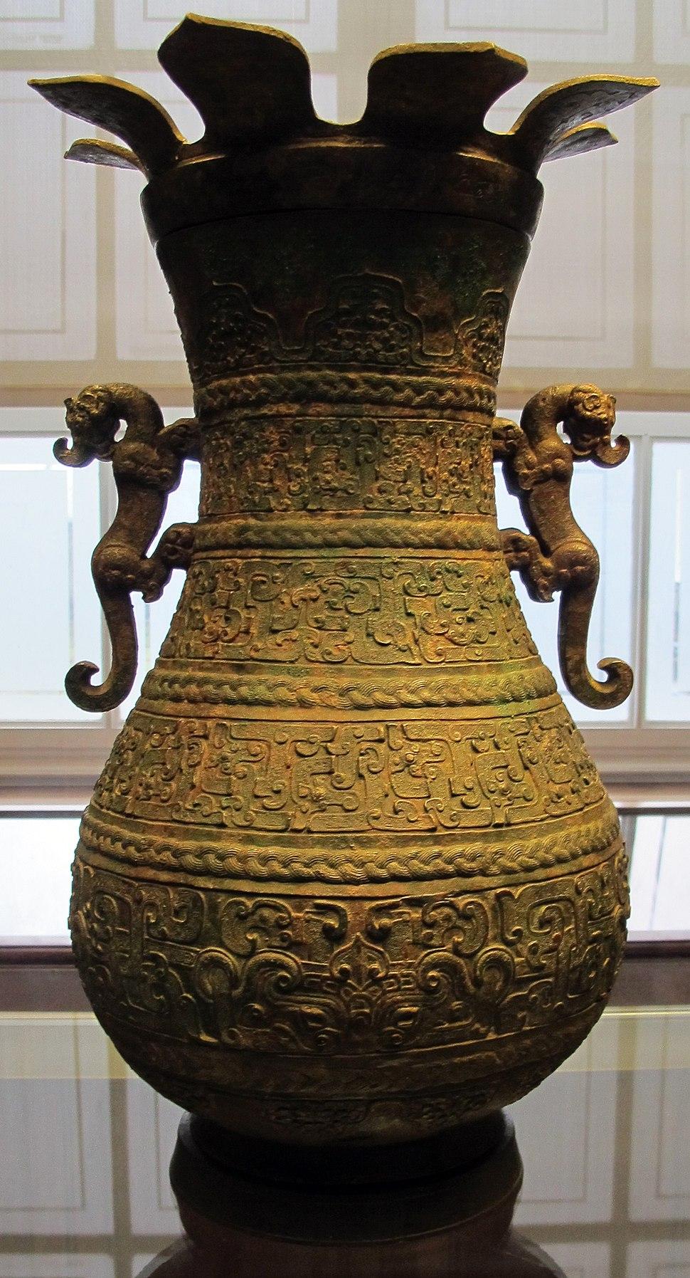 Periodo degli zhou dell%27est, coppia di vasi rituali hu. V sec. ac. 01