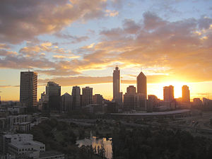 Sunrise over Perth, Western Australia, taken f...