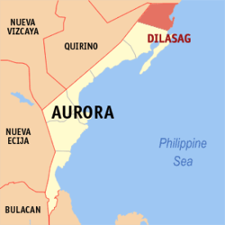 Map of Aurora showing the location of Dilasag