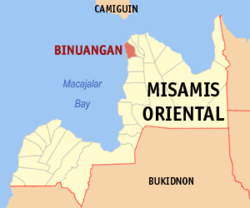 Map of Misamis Oriental with Binuangan highlighted