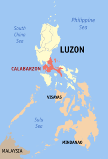 Map of the Philippines showing the location of Region IV-ACALABARZON