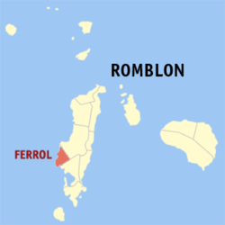 Map of Romblon with Ferrol highlighted