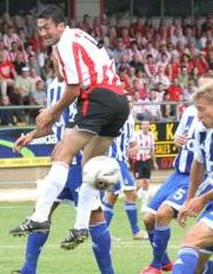Peter Hutton (footballer) - Hutton after rising to head the ball during Derry City's 2006 UEFA Cup tie against IFK Göteborg at the Brandywell Stadium