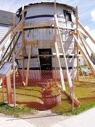 Pickle Barrel House - Pickle Barrel House in Grand Marais, Michigan, under repair in 2004.