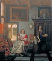 Pieter de Hooch - Interior with a Woman Knitting, a Serving Woman and a Child.jpg