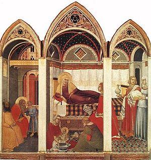 Nativity of the Virgin (Pietro Lorenzetti) - Image: Pietro lorenzetti, natività della vergine del duomo di siena, 1342, tempera su tavola 187x 182, museo dell'opera del duomo di siena
