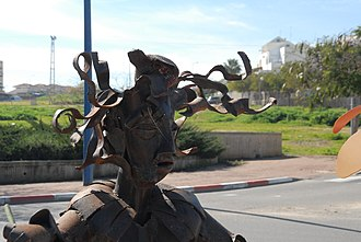 2014 Israel–Gaza conflict - A sculpture in Sderot made from rocket debris