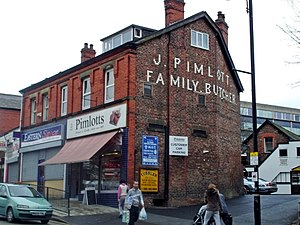 Cheadle Hulme - Pimlott's butcher shop, on Station Road. It was established in 1869, and is one of the family-run businesses in the area.