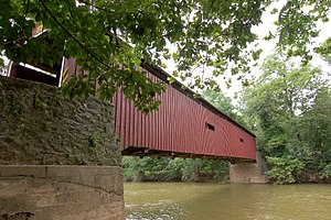 Pinetown Bushong's Mill Covered Bridge - Image: Pinetown Bushong's Mill Covered Bridge Side View 3000px