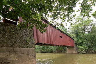 Manheim Township, Lancaster County, Pennsylvania - Pinetown Bushong's Mill Covered Bridge over the Conestoga River in Manheim Township.