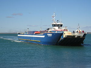 Transbordadora Austral Broom S.A. - The Pionero approaching Punta Delgada ferry terminal in the Strait of Magellan