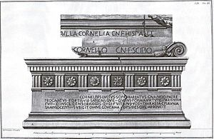Sarcophagus of Lucius Cornelius Scipio Barbatus - Piranesi's engraving of epitaph.