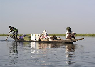 Pirogue - A pirogue on the Niger River in Mali.