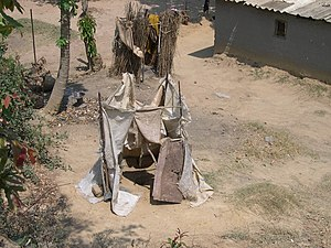 Sustainable Development Goals - Unimproved sanitation example: pit latrine without slab in Lusaka, Zambia