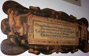 Jan Huyghen van Linschoten - Plaque painted by Karel van Mander commemorating whalebone given to Haarlem by Jan Huyghen van Linschoten from Willem Barentsz expedition.