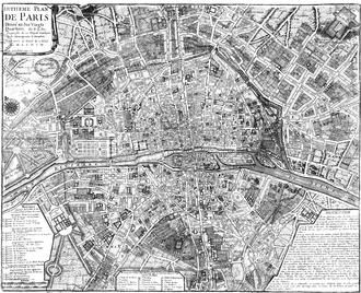 Catherine de Vivonne, marquise de Rambouillet - 1705 Map of Paris by N. de Fer, showing the rue Saint-Thomas du Louvre between the Louvre and the Tuileries.