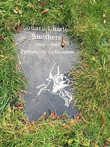 Marble stone reading Leonard Charles Smithers 1861-1907 Publisher to the Decadents, with an image of a ridden pegasus