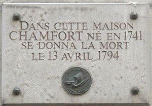 Nicolas Chamfort - Image: Plaque Chamfort, 10 rue Chabanais, Paris 2