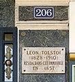 Plaque Léon Tolstoï, 206 rue de Rivoli, Paris 1.jpg