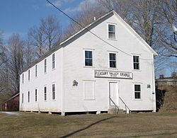 Pleasant Valley Grange Hall, next to the Rockingham Meeting House